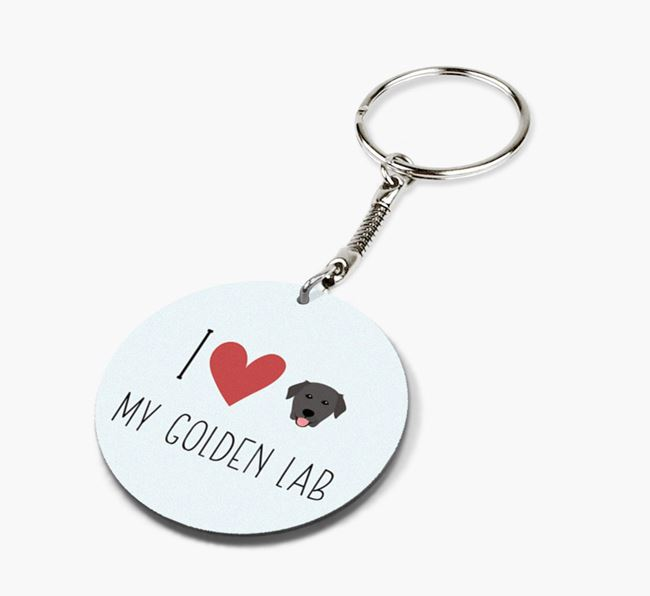Double-sided 'I heart my Golden Lab' Keyring
