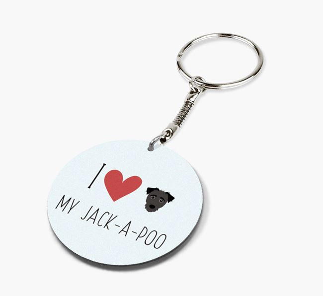 Double-sided 'I heart my Jack-a-Poo' Keyring