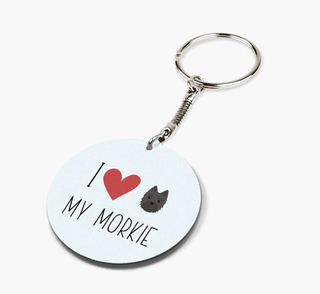 Double-sided 'I heart my Morkie' Keyring