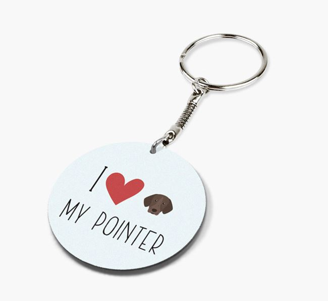 Double-sided 'I heart my Pointer' Keyring
