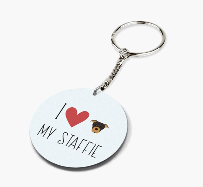 Double-sided 'I heart my Staffie' Keyring