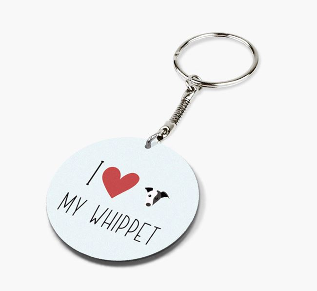 Double-sided 'I heart my Whippet' Keyring