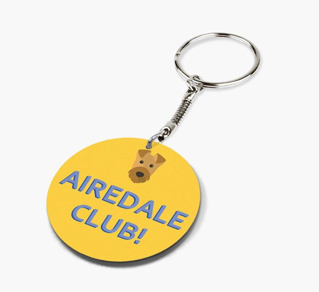 Double-sided 'Airedale Club!' Keyring