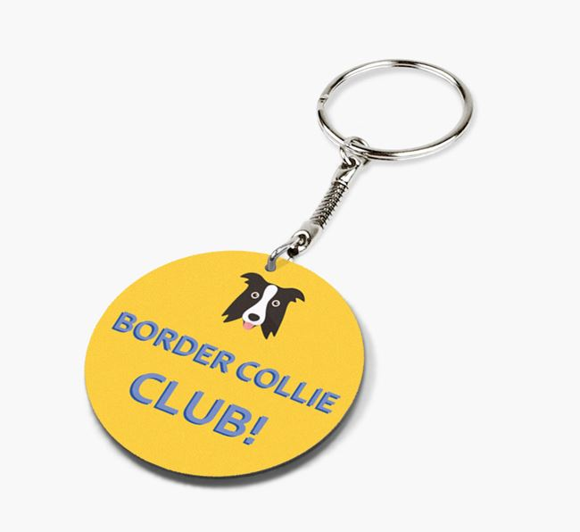 Double-sided 'Border Collie Club!' Keyring