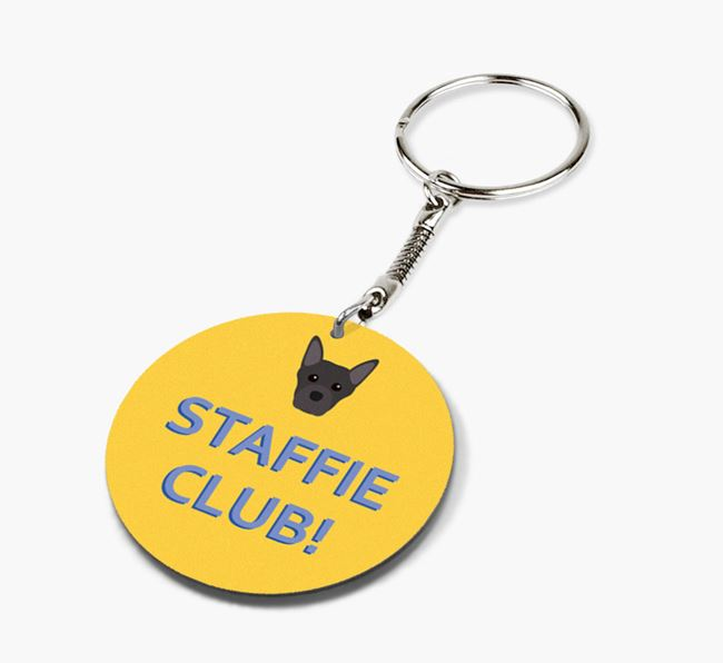 Double-sided 'Staffie Club!' Keyring