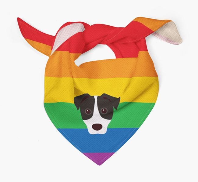 Colorful Rainbow Bandana with Jack Russell Terrier Icon