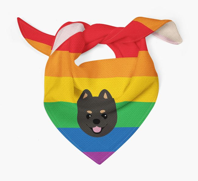 Colorful Rainbow Bandana with Pomeranian Icon