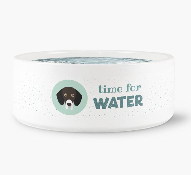 'Time for Water' Dog Bowl with Bassador Icon
