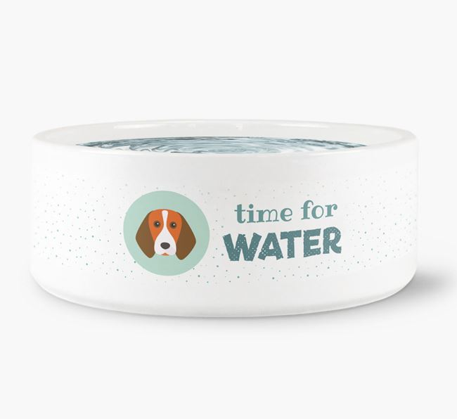 'Time for Water' Dog Bowl with Beagle Icon