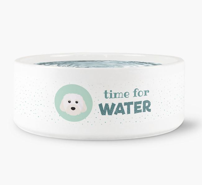 'Time for Water' Dog Bowl with Cavachon Icon