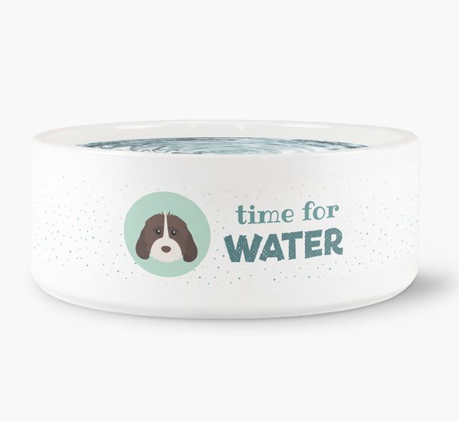 'Time for Water' Dog Bowl with Cockapoo Icon