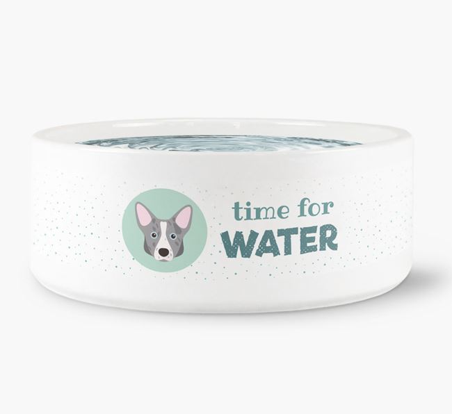 'Time for Water' Dog Bowl with Corgi Icon