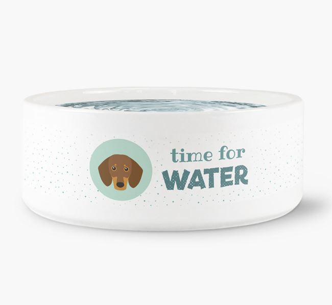 'Time for Water' Dog Bowl with Dachshund Icon