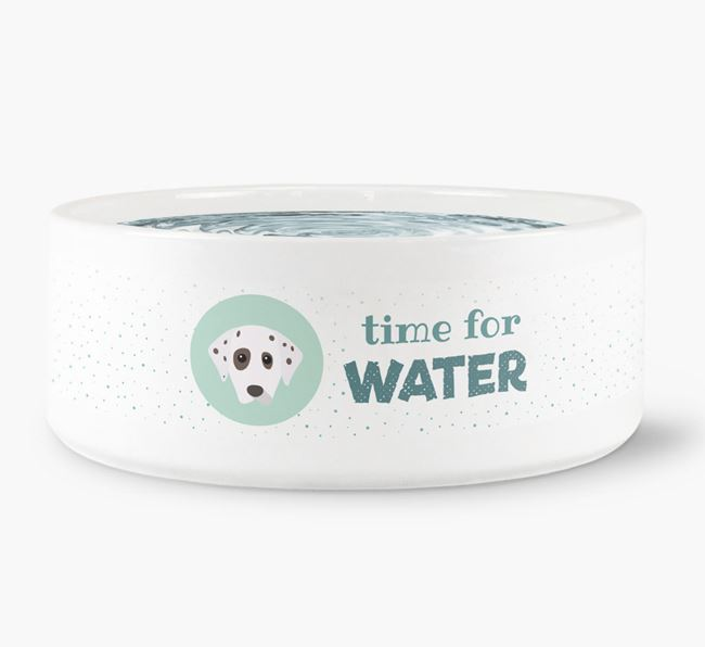 'Time for Water' Dog Bowl with Dalmatian Icon