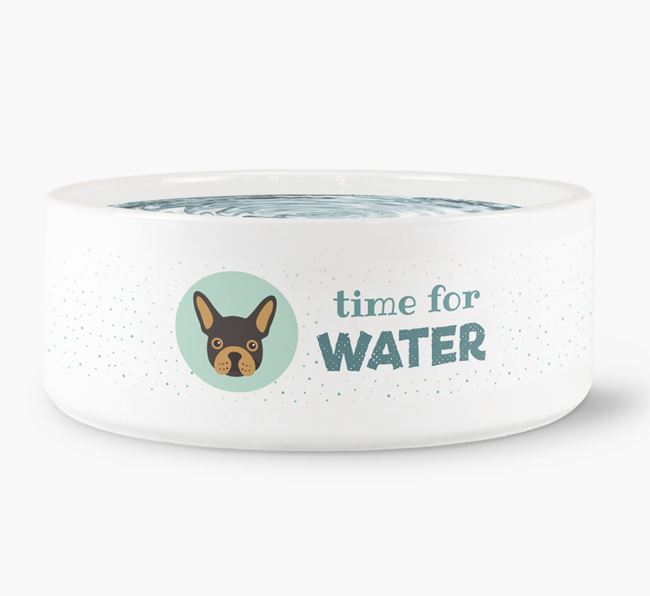 'Time for Water' Dog Bowl with French Bulldog Icon