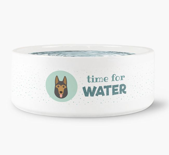 'Time for Water' Dog Bowl with German Shepherd Icon