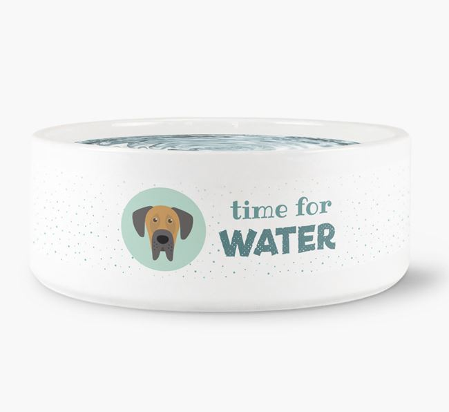 'Time for Water' Dog Bowl with Great Dane Icon