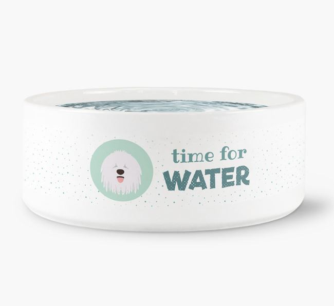 'Time for Water' Dog Bowl with Komondor Icon