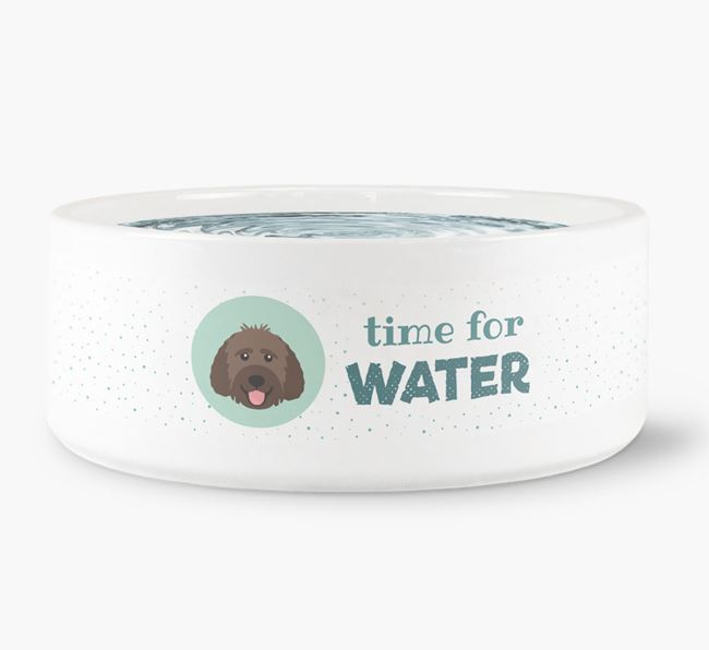 'Time for Water' Dog Bowl with Labradoodle Icon