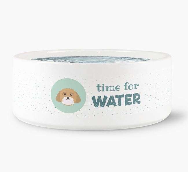 'Time for Water' Dog Bowl with Lhasa Apso Icon