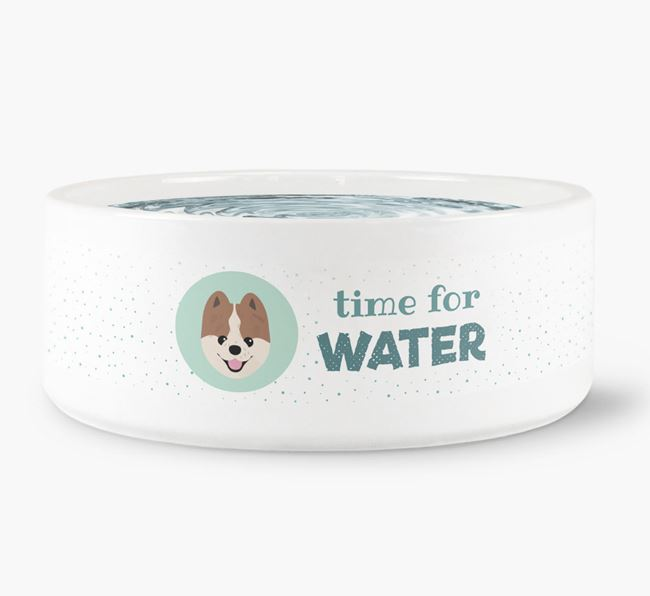 'Time for Water' Dog Bowl with Pomeranian Icon