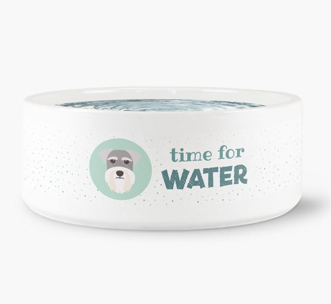 'Time for Water' Dog Bowl with Schnauzer Icon