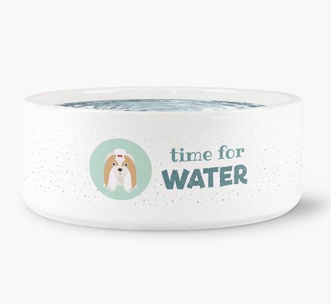 'Time for Water' Dog Bowl with Shih Tzu Icon