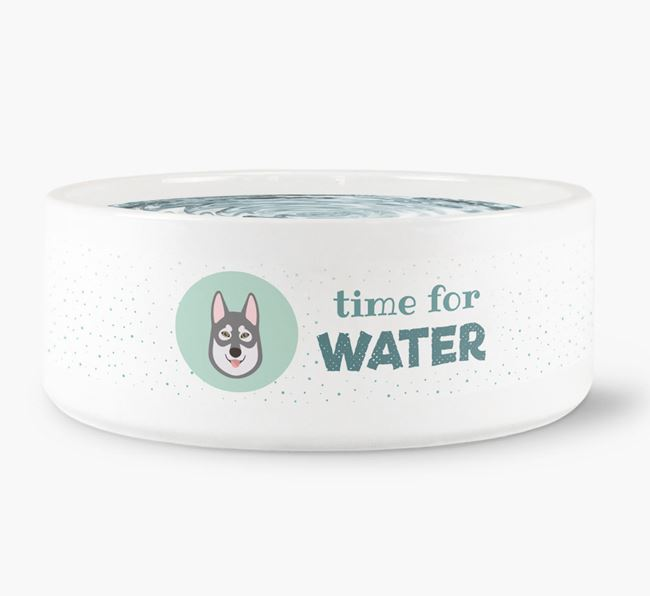 'Time for Water' Dog Bowl with Tamaskan Icon