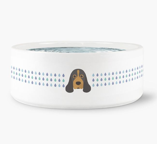 Droplets Water Bowl with American Cocker Spaniel Icon