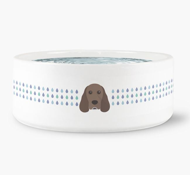 Droplets Water Bowl with Cocker Spaniel Icon