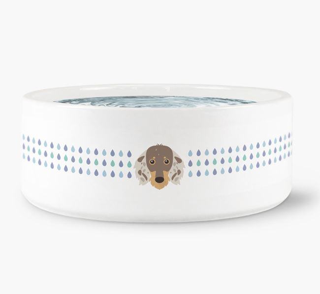 Droplets Water Bowl with Dachshund Icon