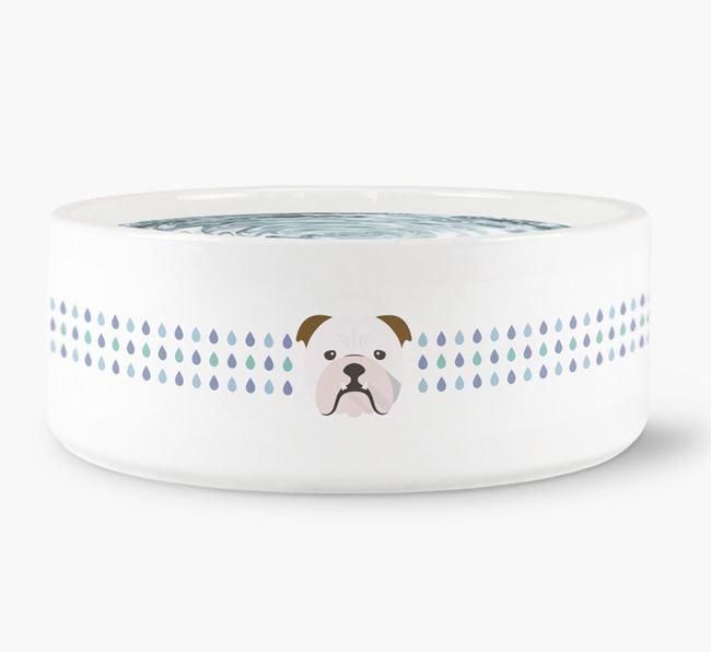 Droplets Water Bowl with English Bulldog Icon