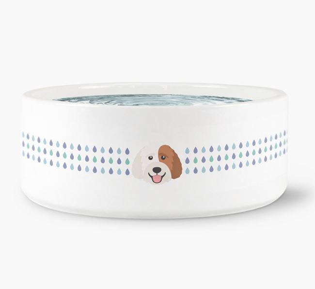 Droplets Water Bowl with Labradoodle Icon