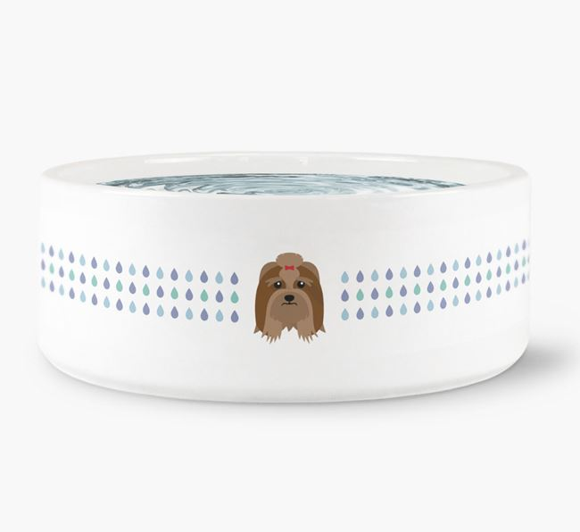 Droplets Water Bowl with Lhasa Apso Icon