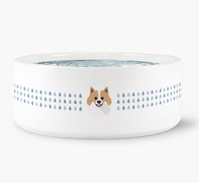 Droplets Water Bowl with Pomeranian Icon