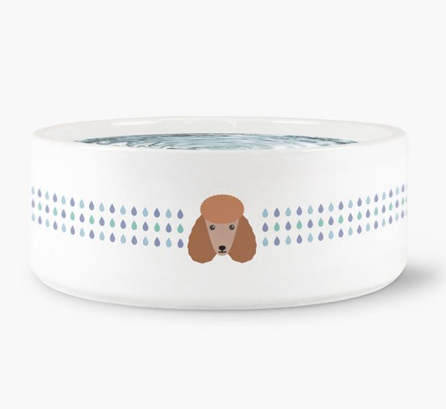 Droplets Water Bowl with Poodle Icon