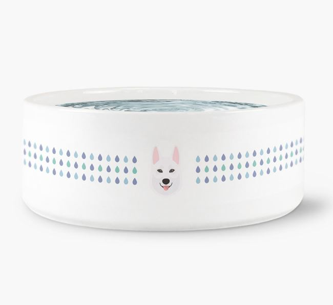 Droplets Water Bowl with Tamaskan Icon