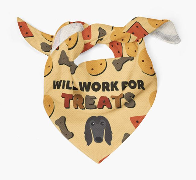 'Work For Treats' Bandana with Afghan Hound Icon