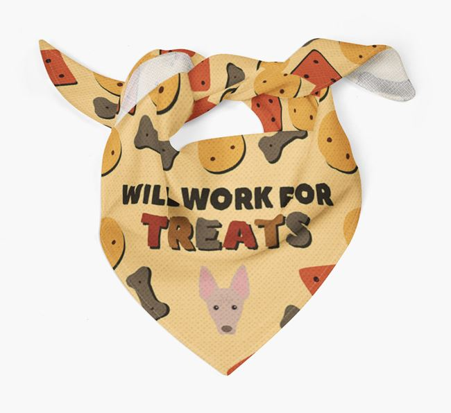'Work For Treats' Bandana with American Hairless Terrier Icon