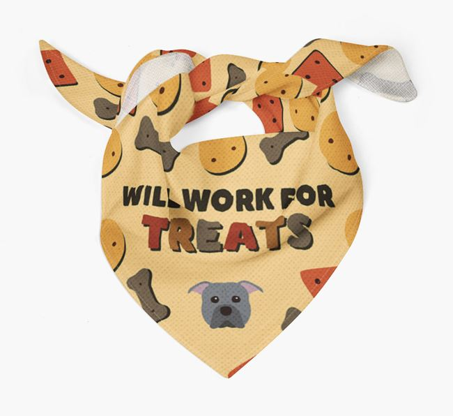 'Work For Treats' Bandana with American Pit Bull Terrier Icon