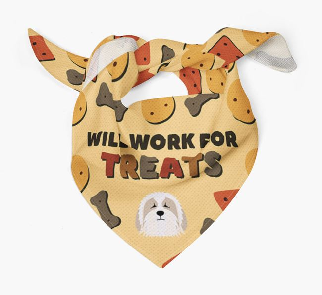 'Work For Treats' Bandana with Bearded Collie Icon