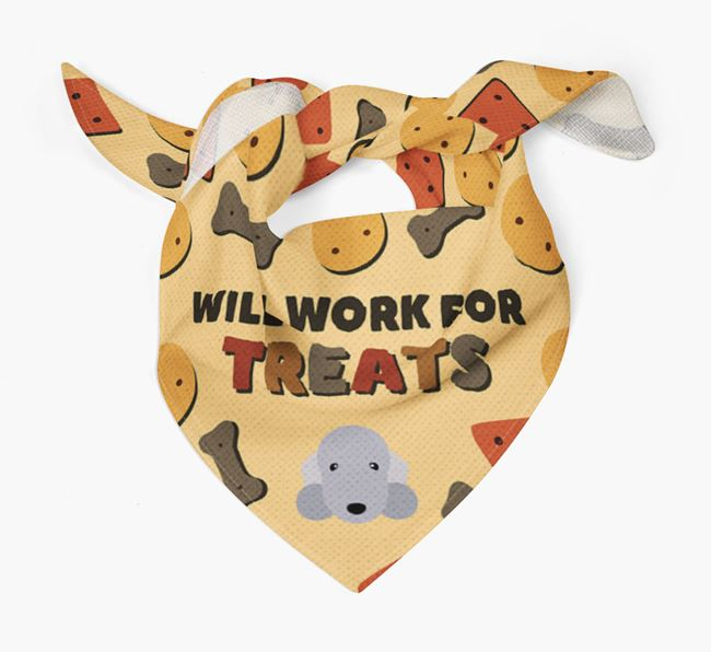 'Work For Treats' Bandana with Bedlington Terrier Icon