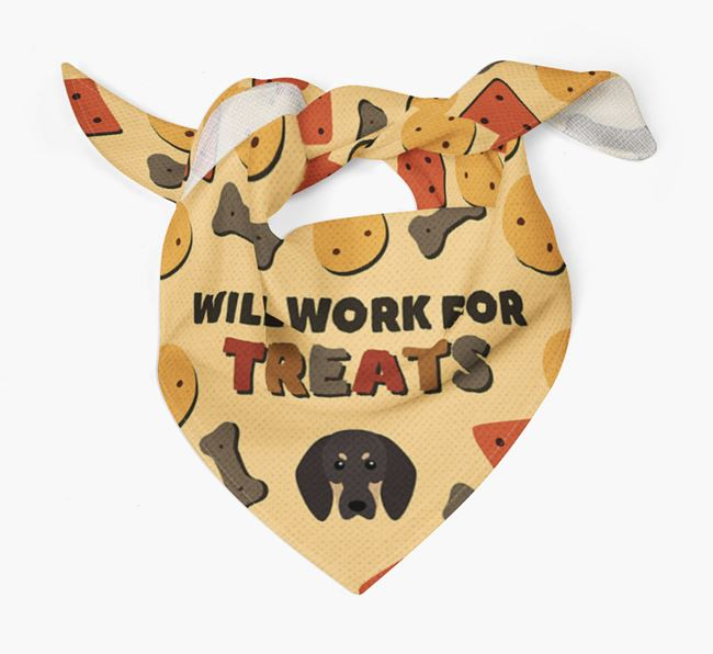 'Work For Treats' Bandana with Black and Tan Coonhound Icon