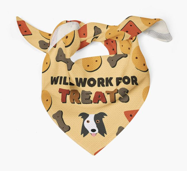 'Work For Treats' Bandana with Border Collie Icon