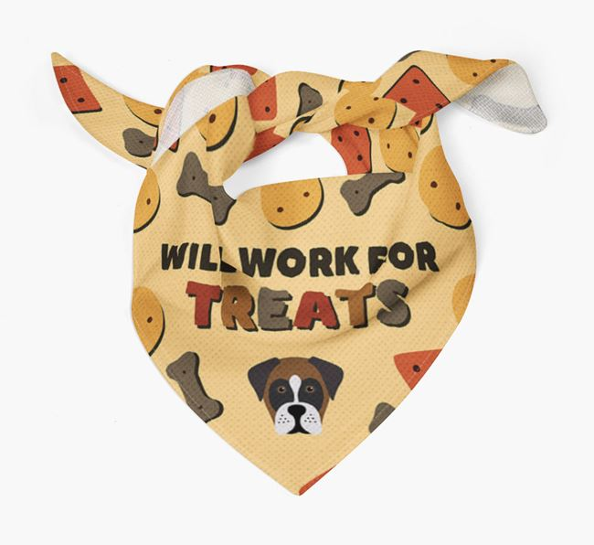 'Work For Treats' Bandana with Boxador Icon