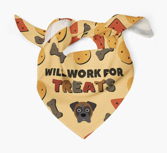 'Work For Treats' Bandana with Boxer Icon