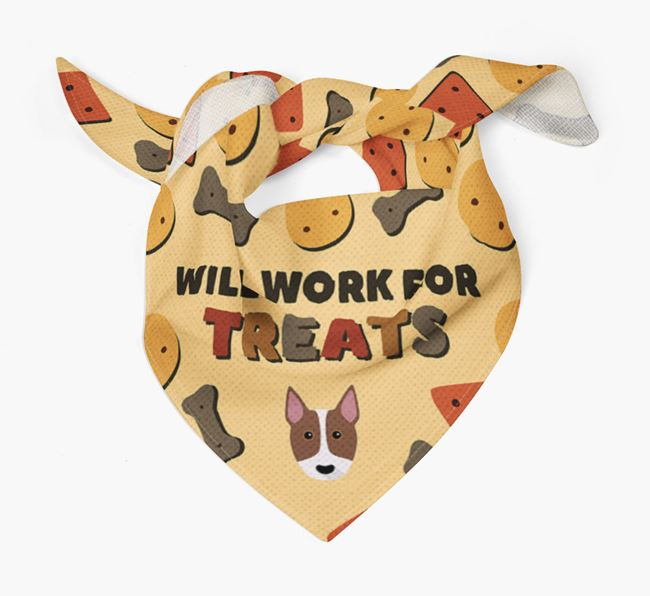'Work For Treats' Bandana with Bull Terrier Icon