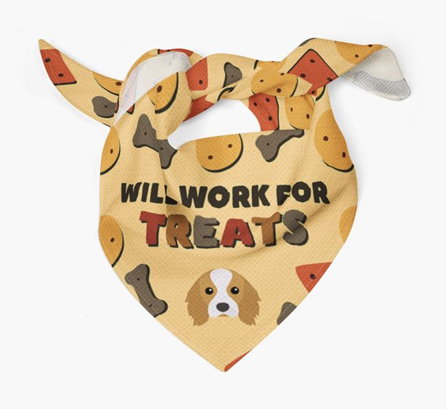 'Work For Treats' Bandana with Cavalier King Charles Spaniel Icon