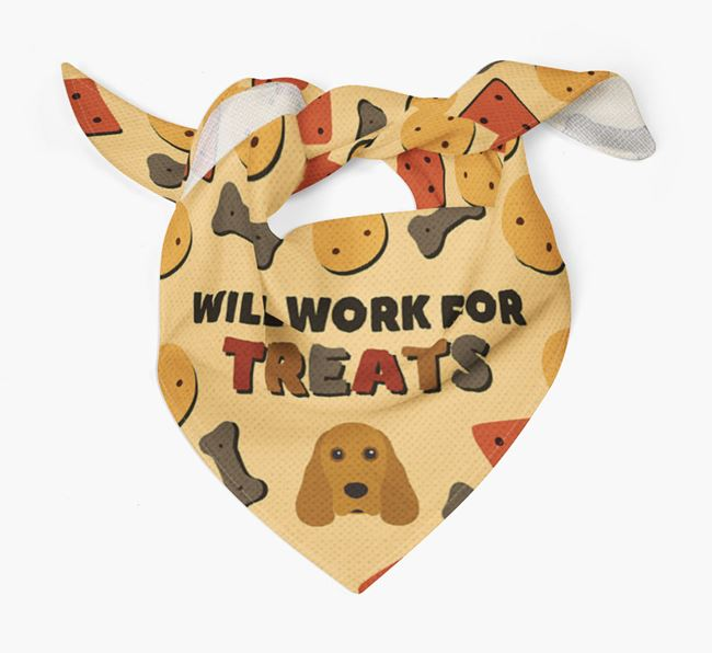 'Work For Treats' Bandana with Cocker Spaniel Icon
