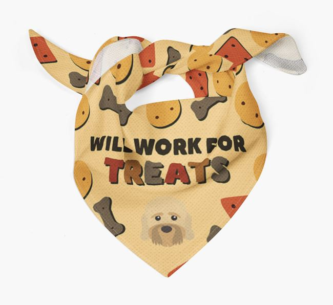 'Work For Treats' Bandana with Dandie Dinmont Terrier Icon